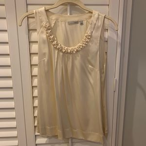 Cream Color Satin Tank Top w/Frilled Neck